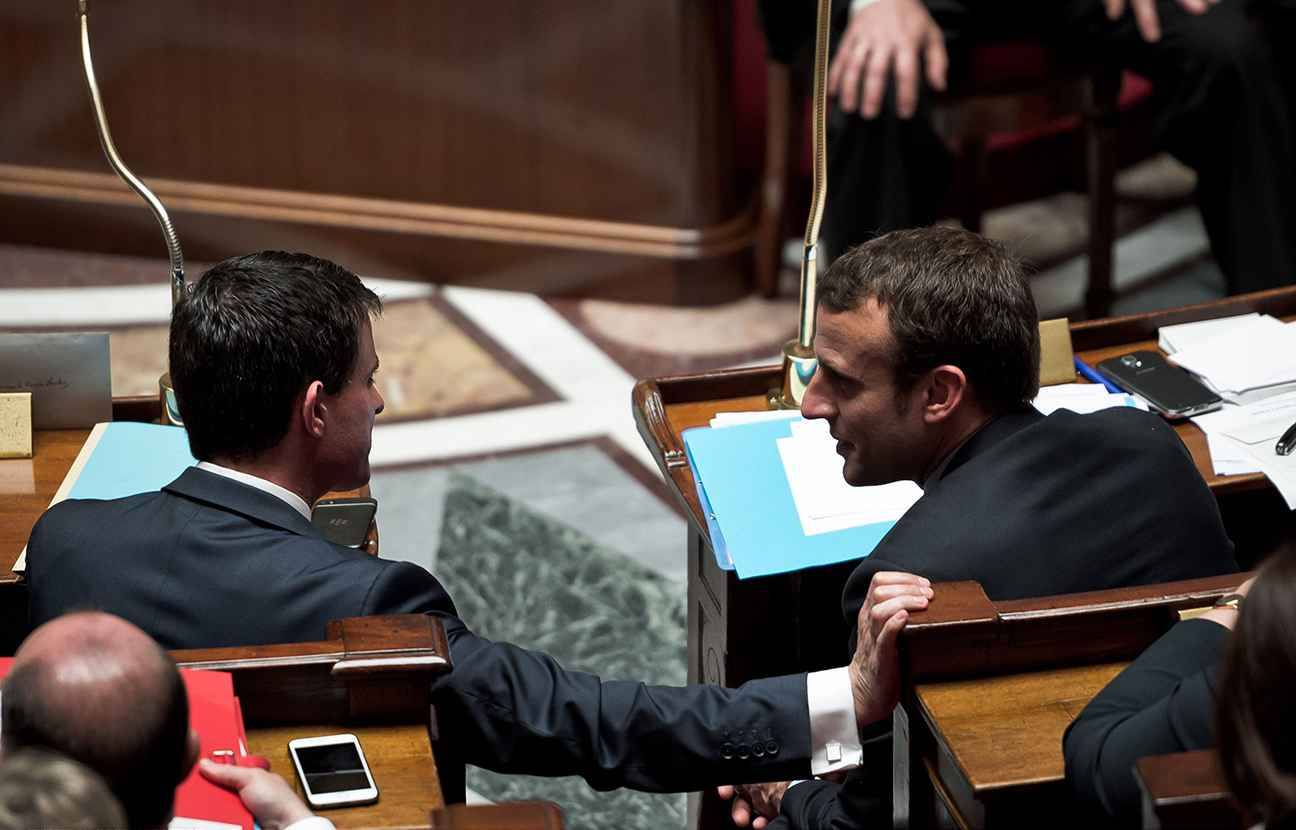 Manuel VALLS and Emmanuel MACRON. Weekly session on Wednesday, of questions to the government, in French National Assembly, Bourbon Palace, Paris, France. June 22, 2016.