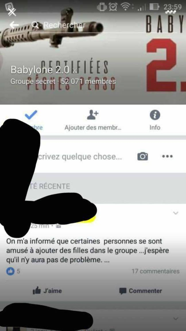 Capture d'écran du groupe secret Babylone 2.0