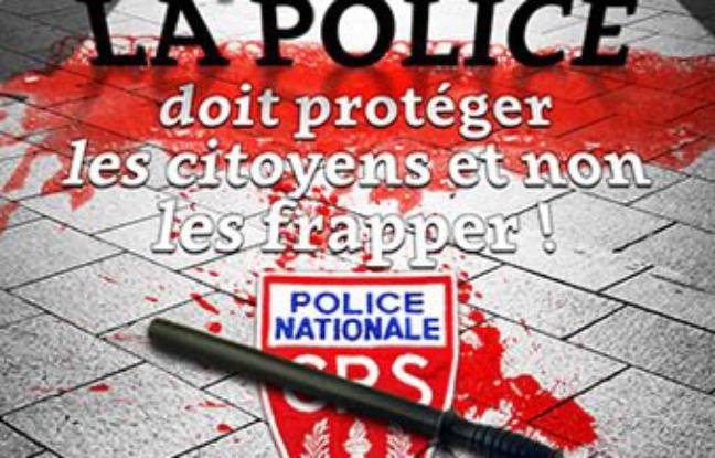 The poster of the CGT against the violence  polici & # XE8; res output April 16, 2016 on  the infocomcgt.fr site.