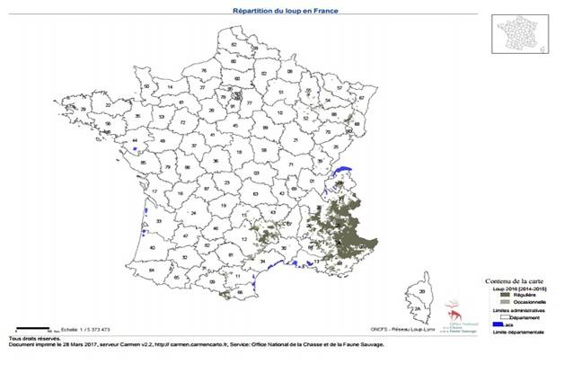 Cartographie de la répartition du loup en France.