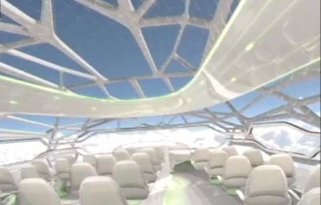 Airbus d voile son avion transparent for Interieur d avion