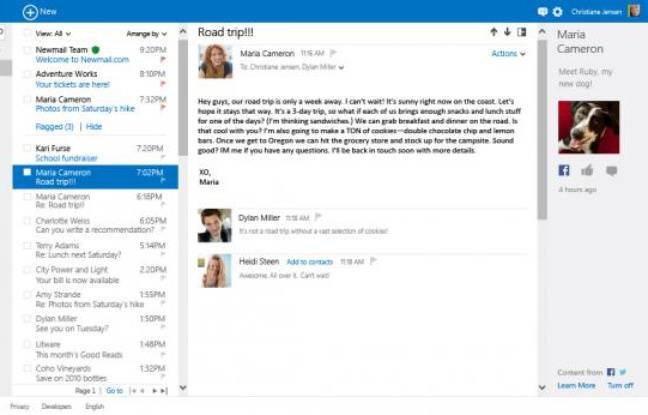 La nouvelle interface d'Outlook.com, qui va remplacer Hotmail.com