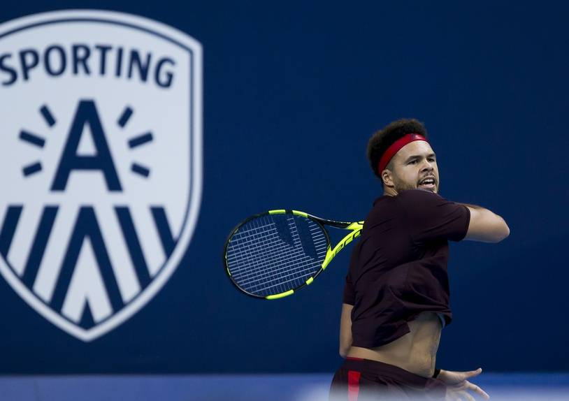 France's Jo-Wilfried Tsonga plays a return during his men's singles final tennis match against Argentina's Diego Schwartzman at the ATP Antwerp tennis tournament in Antwerp on October 22, 2017