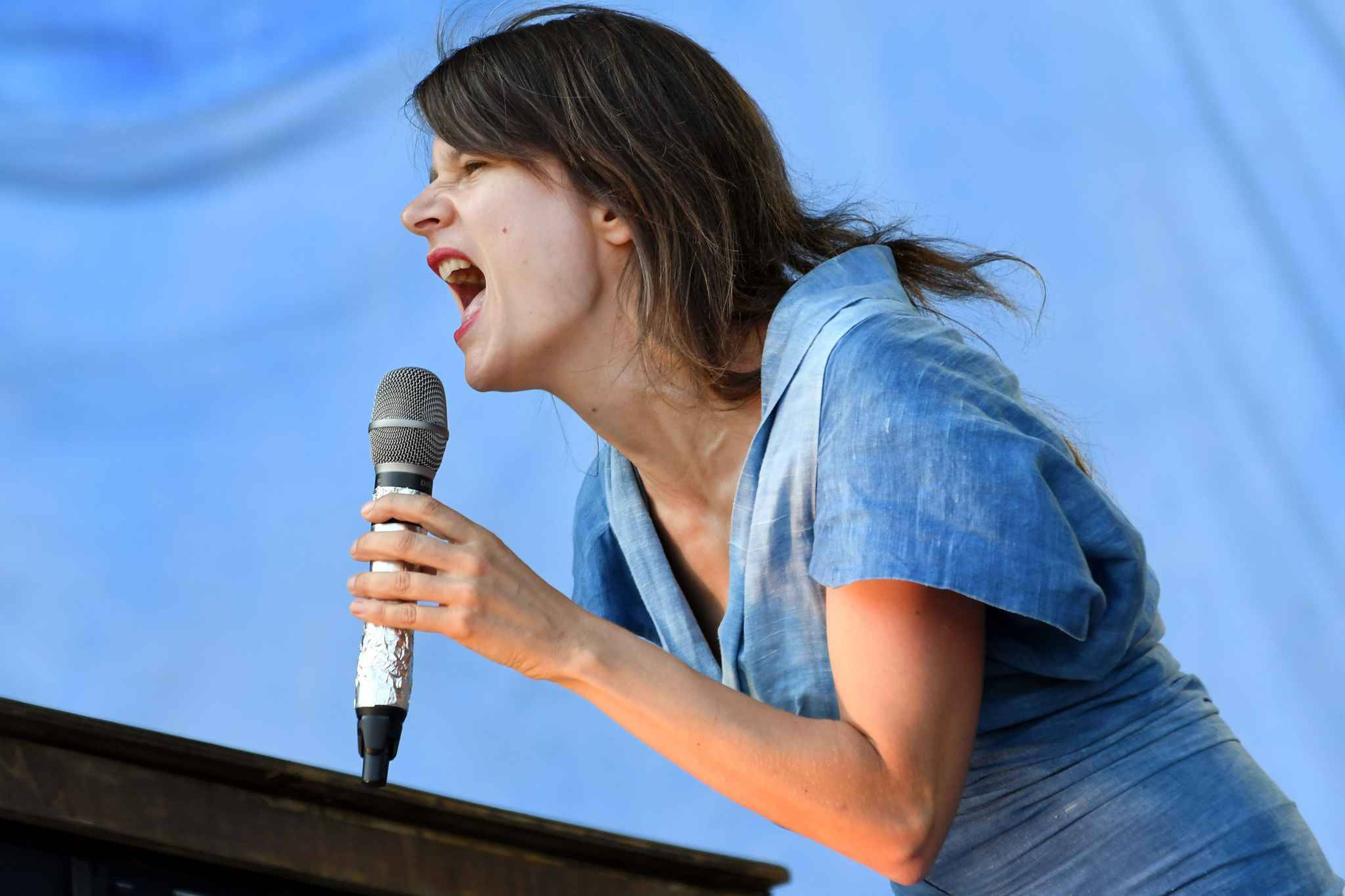 "French singer Camille Dalmais aka Camille performs on stage during the third day of the 26th edition of the ""Vieilles Charrues"" music festival, in Carhaix-Plouguer, western France, on July 15, 2017."