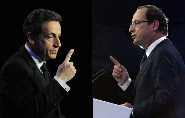 Nicolas Sarkozy et François Hollande, montage photo.