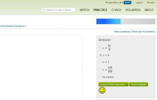 Un exercice de maths de la Khan Academy.