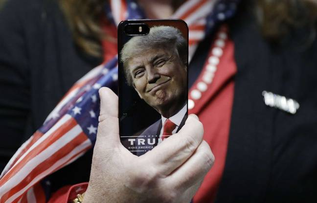 Une coque de smartphone à l'effigie de Donald Trump.AP Photo/John Locher