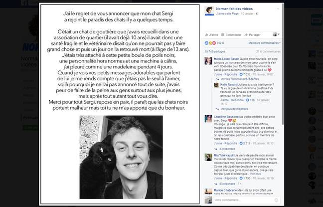 Post de Norman annonçant la mort de son chat Sergi.