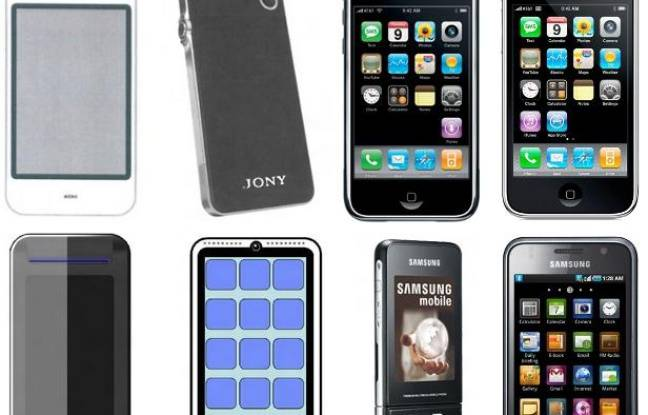 En haut, l'évolution d'Apple: le concept Purple (2005), le prototype «Jony» (2006), l'iPhone (2007) et l'iPhone 3G (2008). En bas, celle de Samsung: les prototypes Slide et IReen (2006), l'Ultra F500 (fin 2006, avant l'iPhone) puis le Galaxy S (2010).