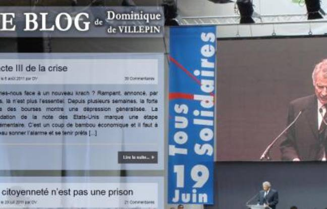 capture d'écran du site internet de Dominique de Villepin.