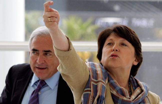 Dominique Strauss-Kahn et Martine Aubry le 6 mai 2006 à Bordeaux.