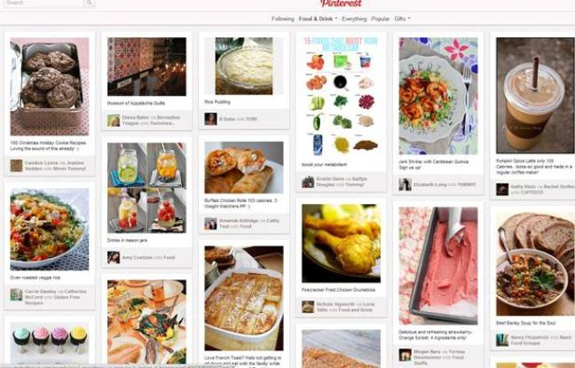 Capture d'écran du site de partage de photos Pinterest.