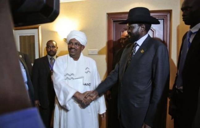 Sudanese President Omar al-Bashir (Center L) shakes hands with his South Sudanese counterpart Salva Kiir (Center R) following a meeting in the Ethiopian capital Addis Ababa, on July 14, 2012. It is the first time the two former civil war foes have met since January and violent clashes in April that brought the two countries back to the brink of all-out war. Sudan's Omar al-Bashir and South Sudanese counterpart Salva Kiir met late in the night at a luxury hotel and shook hands as they left the room. Year-long talks between the two rivals have been dragging since Juba gained independence from the North last July and they have yet to reach concrete deals on outstanding disputes, including security, oil sharing revenues and border demarcation. African Union officials urged Sudan and South Sudan to settle their differences on oil and border demarcation before a United Nations deadline to resolve the disputes kicks in on August 2. AFP PHOTO/JENNY VAUGHAN