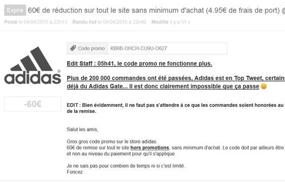 code reduction achat adidas
