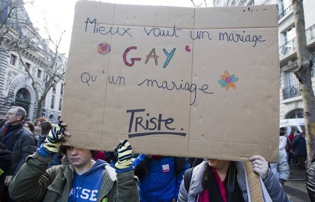 Paris on January 27, 2013. Rally in favor of  the bill for the wedding for everyone.