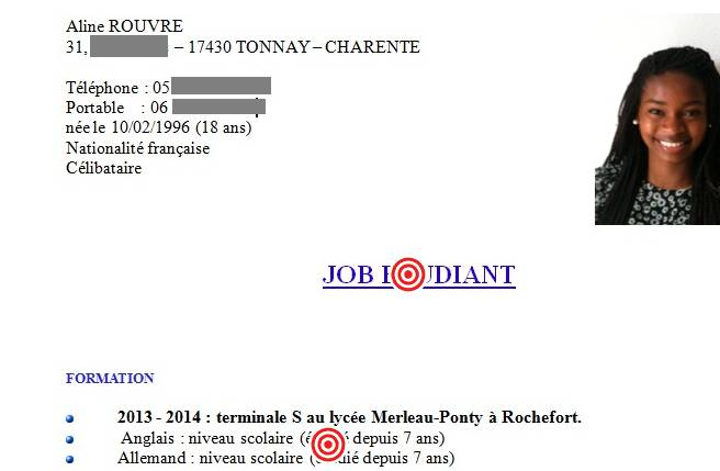 cv exemple stage tudiant