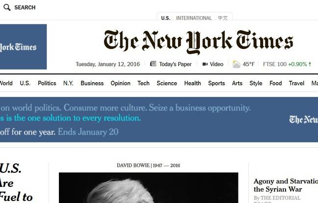 Page d'accueil du site Internet du «New York Times».