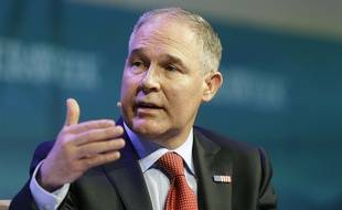 """Environmental Protection Agency Administrator Scott Pruitt speaks during CERWeek by IHS Markit on Thursday, March 9, 2017, in Houston. Pruitt said on CNBC's """"Squawk Box,"""" he does not believe that carbon dioxide is a primary contributor to global warming, a statement at odds with mainstream scientific consensus and his own agency."""