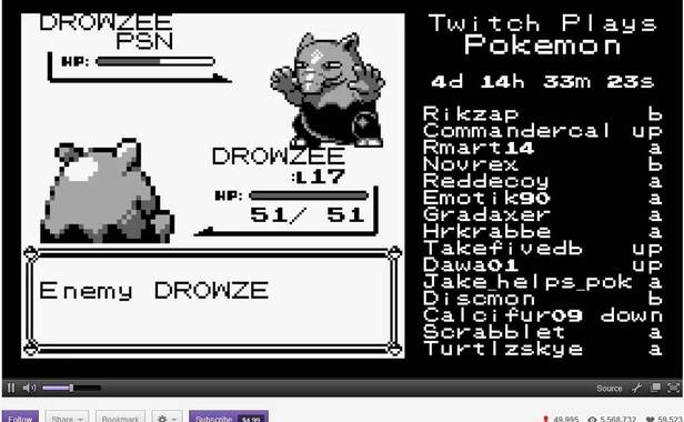 "capture d'écran de ""Twitch Plays Pokemon""."
