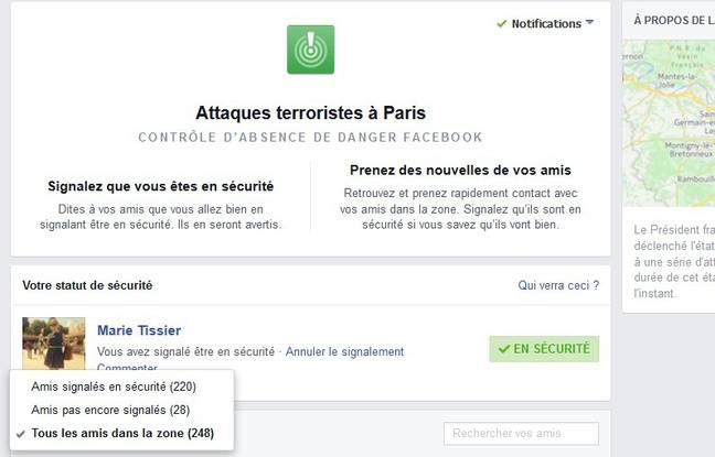 "L'application ""Safety Check"" a été lancée vendredi soir par facebook,  à la suite des attentats dans Paris."