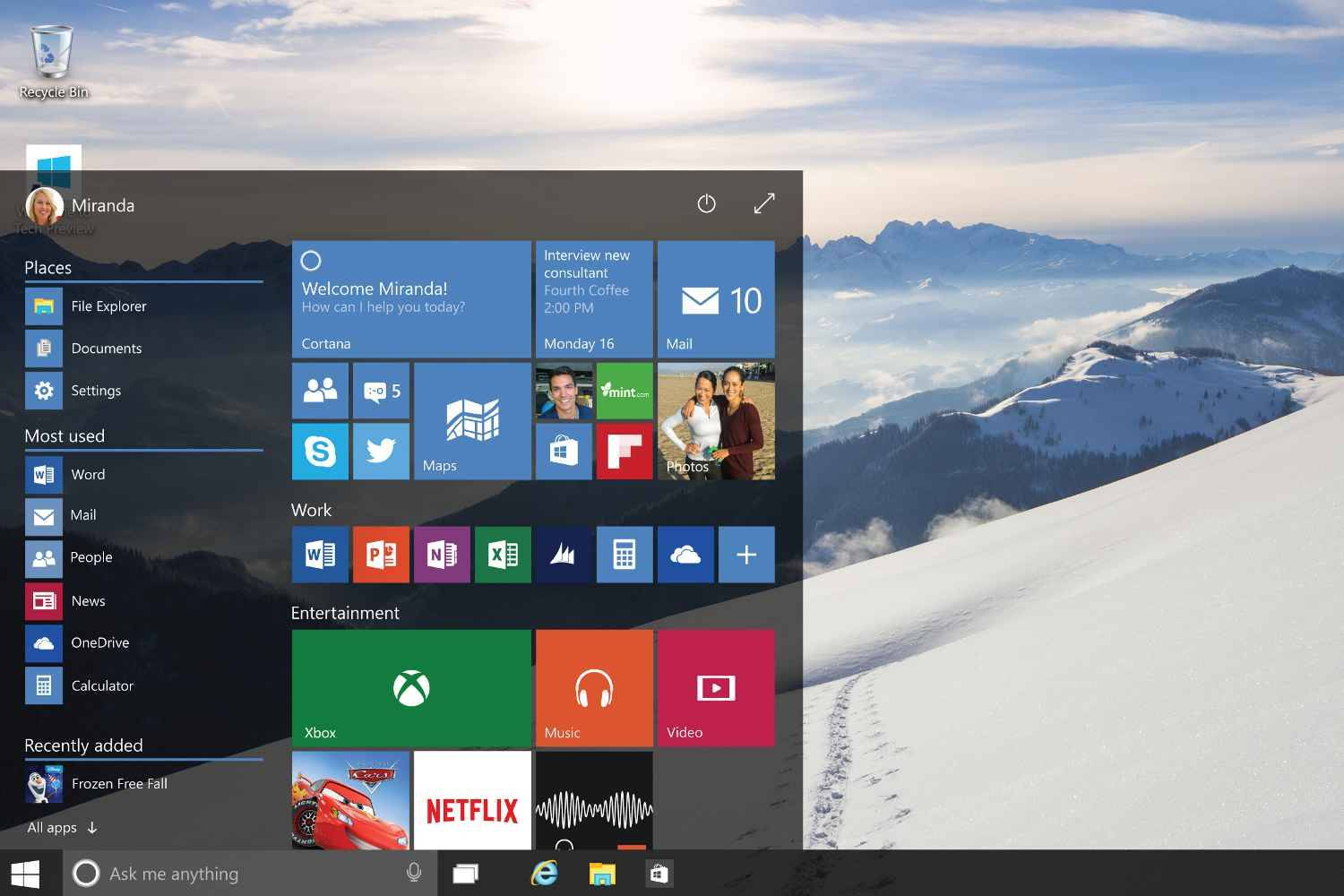 Video les 10 choses savoir sur windows 10 for Windows 7 bureau vide