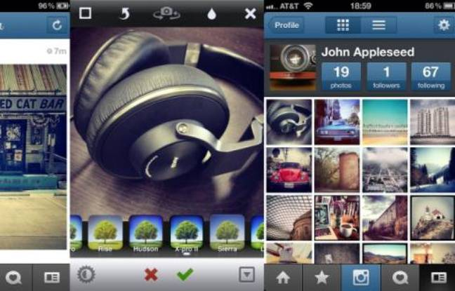 L'app photo Instagram, disponible sur iOS et Android.