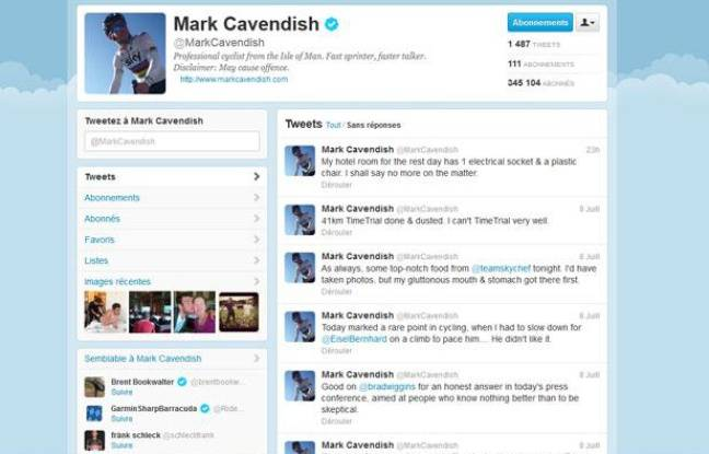 Capture d'écran du compte Twitter du spinteur Mark Cavendish.