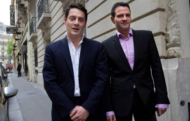 Jérôme Kerviel et son avocat David Koubbi à Paris le 27 avril 2012.