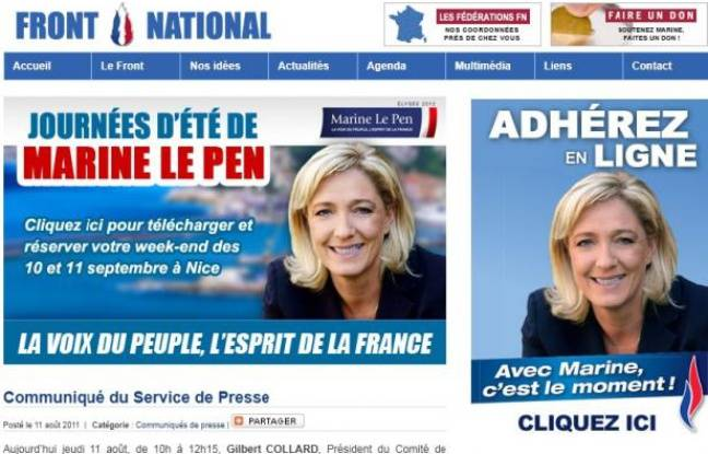 Capture d'écran du site internet officiel de Marine Le Pen.