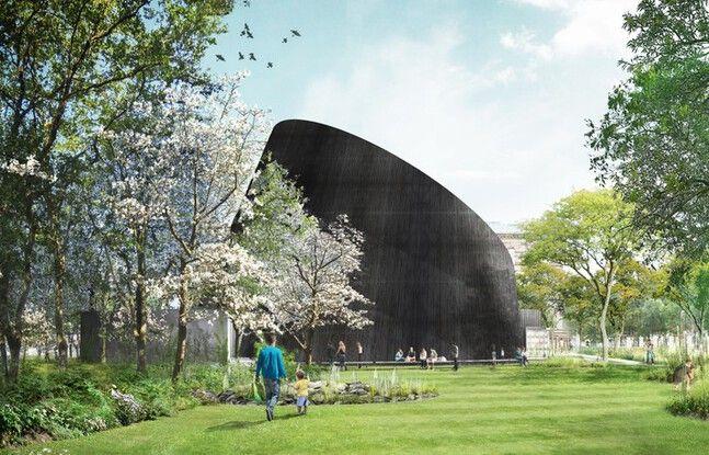 Futur planétarium de l'université de Strasbourg. Vue depuis le parvis Geologie.