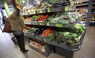 Les rayons d'un supermarché bio (illustration).
