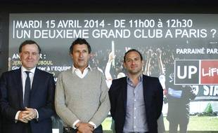 Pierre Ferracci, président du Paris FC, Patrice Haddad, président du Red Star et Jérôme Touboul, journaliste à L'Equipe, le 15 avril 2014.