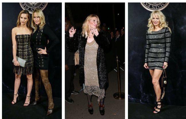 Estelle Lefébure, Ilona Smet, Courtney Love et Pamela Anderson à la soirée Balmain