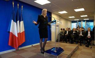 Marine Le Pen, présidente du Front national et candidate à l'élection présidentielle de 2012, au siège du FN à Nanterre, le 5janvier 2012.
