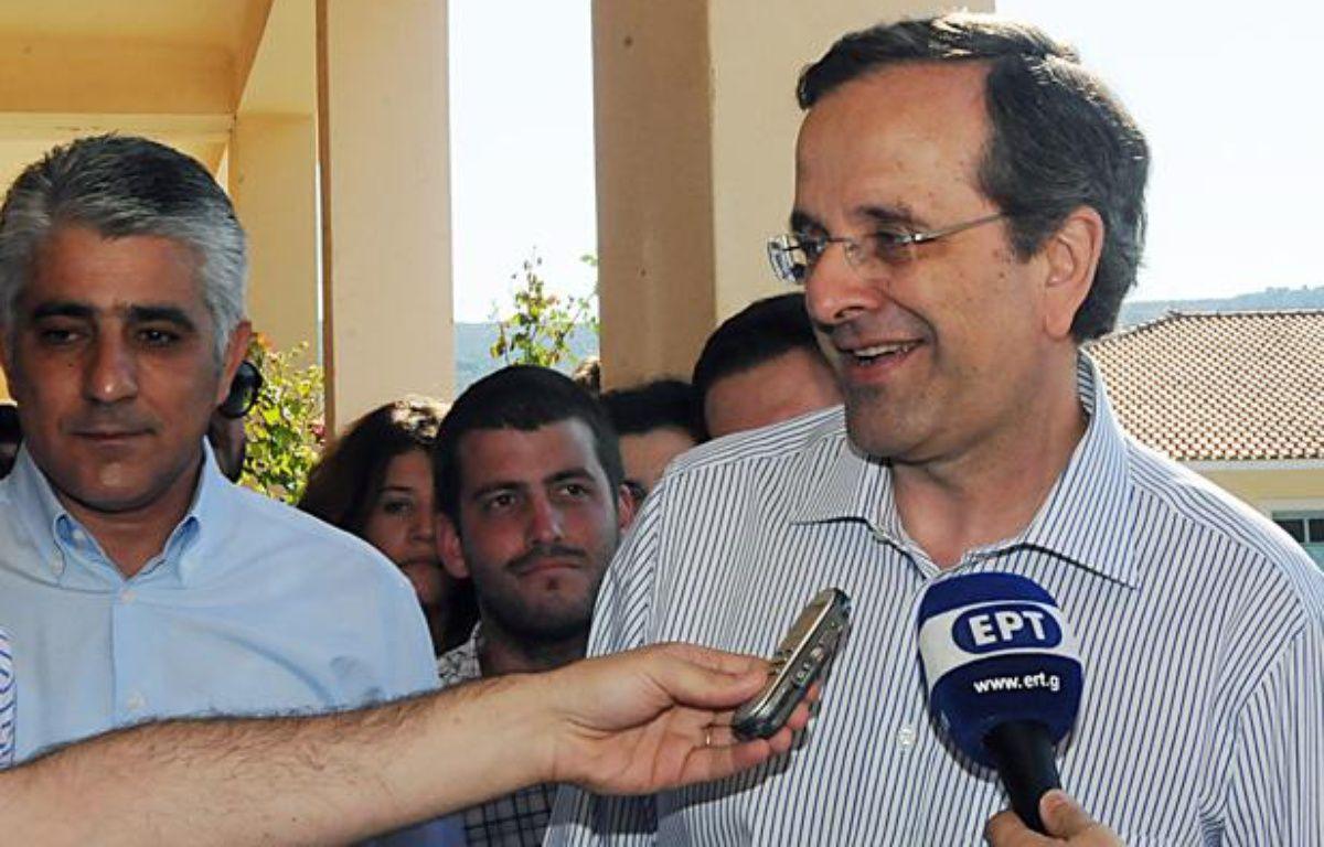 Antonis Samaras, président du parti Nouvelle Démocratie, le 17 juin 2012, à Pylos, en Grèce. – Willy Antoniou / NEW DEMOCRACY PRESS OFFICE / AFP