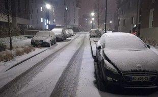 Illustration des chutes de neige ici dans la région de Rennes, le 9 février 2021.