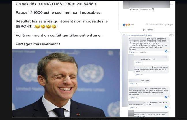 Ce faux calcul a été diffusé sur Facebook le lendemain de l'allocution d'Emmanuel Macron, le 10 décembre.