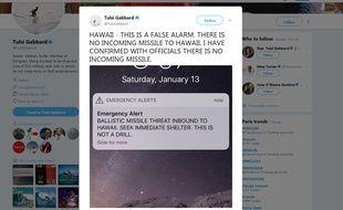 Capture d'écran d'un tweet de l'élue américaine Tulsi Gabbard, démentant l'alerte envoyée par erreur aux habitants de Hawaï pour les prévenir de l'arrivée imminente d'un missile balistique.