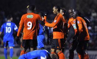 Lorient célèbre son succès en 8e de finale de Coupe de France face aux amateurs de Sarre-Union (0-4).