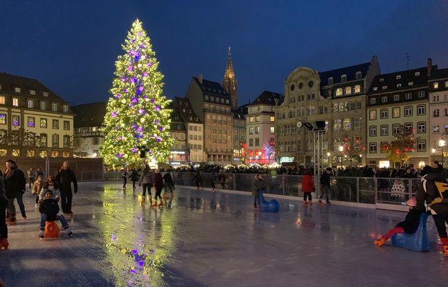 La patinoire place Kléber. Strasbourg le 24 novembre 2019.