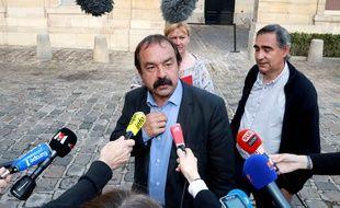Philippe Martinez (CGT) après sa rencontre avec la ministre du Travail Myriam El Khomri, le 17 juin 2016.