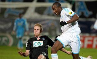Un duel lors de Marseille Reims, en janvier 2014
