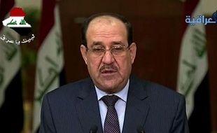 Capture d'écran de la chaine Iraqya montrant le Premier ministre Nouri al-Maliki s'exprimant à Bagdad, le 18 juin 2014