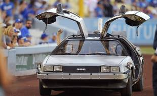 Los Angeles le 15 aout 2015. Photo de la DeLorean, voiture du film Retour vers le futur. AP Photo/Mark J. Terrill