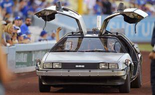 Los Angeles le 15 aout 2015. Photo de la DeLorean, voiture du film Retour vers le futur. AP Photo/Mark J. Terrill