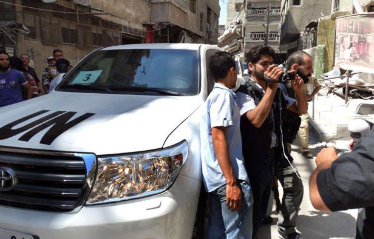 Le véhicule des enquêteurs de l'ONU en Syrie, à Damas, le 28 août 2013. – MOHAMMED AL-ABDULLA/NEWSCOM/SIPA
