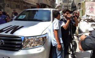 Le véhicule des enquêteurs de l'ONU en Syrie, à Damas, le 28 août 2013.