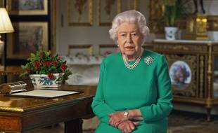 La reine Elisabeth II lors de son allocution, dimanche 5 avril 2020.