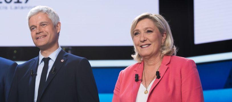Laurent Wauquiez et Marine Le Pen sur France 2, le 22 mai 2019.
