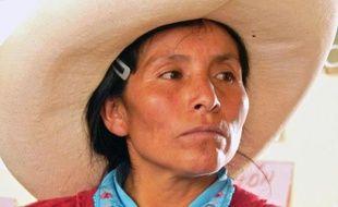 Photo de Maxima Acuna, une paysanne andine de 48 ans, prise le 28 novembre 2014 à Cajamarca, au Pérou, et publiée sur le blog Grundfides le 12 février 2015